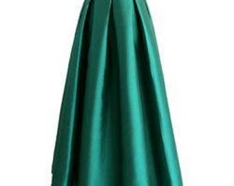 Long Pleated Skirt with Pockets