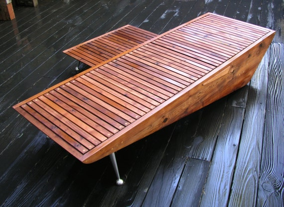Side Table For Modern Chaise Lounge Chair Redwood Patio - Redwood side table