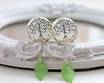 "Silver tree gauges plugs 20mm 13/16"" dangle green leaf stretched ear lobe"