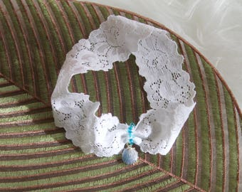 Wedding Garter Belt Bridal Garter Belt Blue Garter - Beach Wedding Garter Shell Garter - Something Blue Garter - Lace Garter
