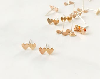Double Heart Studs Earrings, Valentine's Day Gift, gold, earrings, posts, gift under 20, Heart jewelry, simple, modern, minimal, love