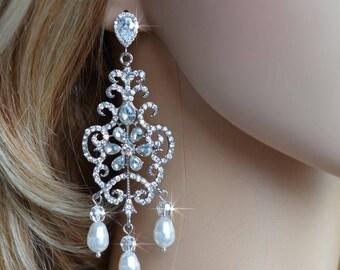 Dramatic Handmade Vintage Inspired Crystal Rhinestone, Cubic Zirconia CZ and Pearl Chandelier Earrings, Bridal, Wedding (Pearl-811)