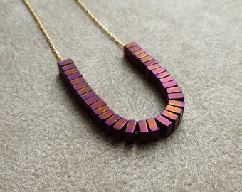 Titanium Hematite Necklace. Matte. Gold Plated Chain. Beaded Necklace. Copper Violet. 4mm. Courage Necklace. Handmade Necklace.