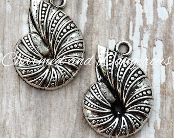 10 Pewter Spiral Conch Shell charms (CM17)