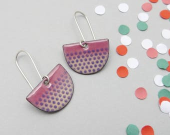 Purple Half Circle Earrings with Polka Dots and Sterling Silver Earwires - Modern Enamel Jewelry - Birthday Gift for Sister