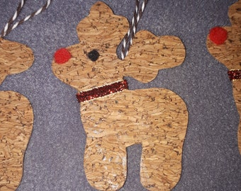 Glitter Cork fabric Christmas reindeers (sets of 2)