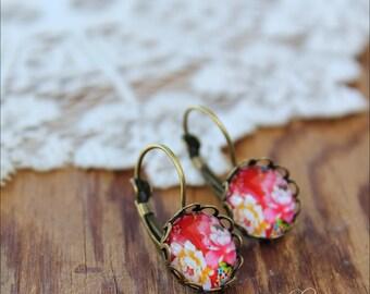 Red Earrings, Floral Dangle Earrings, Floral Earrings, Floral Jewelry, Drop Earrings, Dangle Earrings, Nature Earrings, Boho Earrings