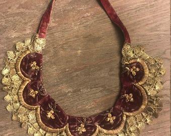 Antique Ottoman Silk & Zardozi Necklace from 1700's