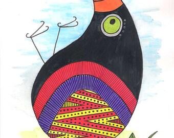 Bird wall art, bird art, bird watercolor, bird painting, animal wall art, animal art, animal watercolor, black bird art, birds painting