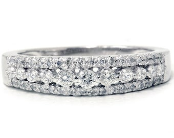 1/4CT Diamond Anniversary Ring 10K White Gold Womens Stackable Guard Wedding Band Pave Size (4-9)