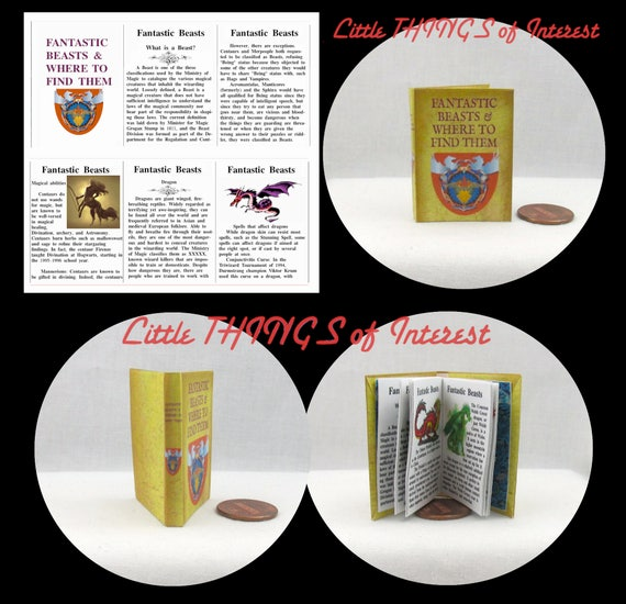 FANTASTIC BEASTS and WHERE to Find Them 1:6 Scale Illustrated Readable Book Magic Wizard Witch Fortune Teller Potter Popular Boy Wizard