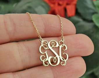 Gold Monogram Necklace  Personalized Gift Jewelry gift for her Personalized Necklace  Personalized JeNeckwelry Bridesmaid Gift