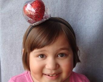 Snowglobe Stirnband Valentinstag Stirnband Herz Stirnband Haar Accessoire Glitter Liebe Haar Mädchen Frau eine Größe passt alle kostenlosen Versand