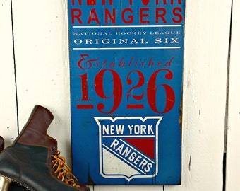 2 SIZES - New York Rangers Hockey - Original 6 - Distressed wood sign