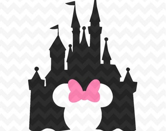 Disney Castle svg, Disney Castle Silhouette, Disney Castle with Minnie head, Disney files for Cricut and Silhouette, Disney vector clipart