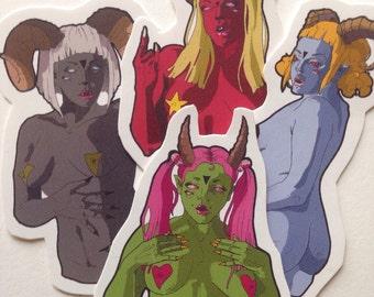 Demon babe stickers