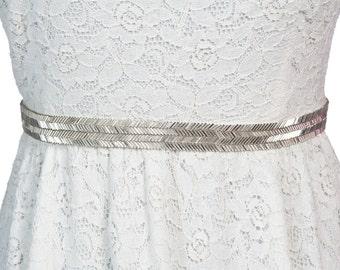 wedding belts Bea, silver bridal sash, bridesmaid sash