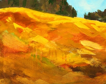 Original Abstract Landscape Painting, Oregon Hillside Trees, Gold, Brown, Blue, Pacific Northwest, Cascade Mountains, 11x14 Acrylic Canvas