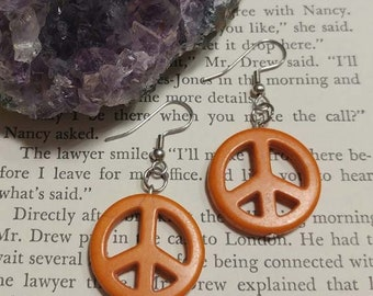 Orange Peace Sign Earrings