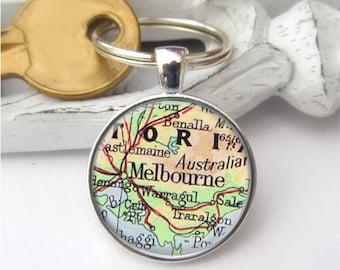 Custom Map Keychain, Groomsman Gift, Personalized Gift, Map Keyring