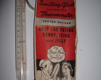 Vintage Cooking CANDY THERMOMETER Ohio Sanitary Glass W Istructions