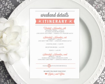 Double Sided Beach Welcome Itinerary - Wedding Welcome Card   wedding itinerary     wedding schedule     wedding timeline  - Style IT5