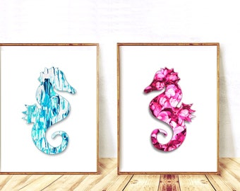 Seahorse, Seahorse Print SET, Seahorse Printable Nursery Wall Art Set, Seahorse Art, Nursery Wall Decor, Seahorse Wall Art, Instant Download