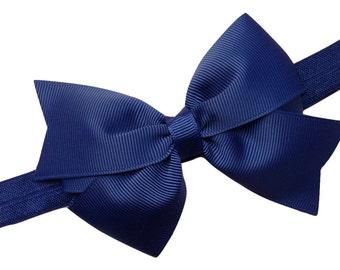 Navy blue baby headband - navy blue bow headband, newborn headband, elastic headband, baby bow headband, navy headband, girls headband