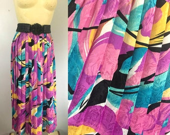 1980s Abstract Print Pleated Skirt Bright Pastel Colors Size S/M