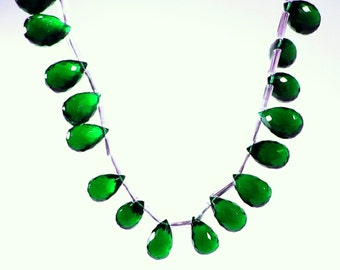 Emerald Green Hydro Quartz Micro Faceted Teardrop Beads 12mm - 13mm