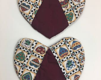 Heart Shaped Hot Pads/Pot Holders/set of 2/ready to ship! (2 options available)