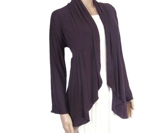 Womens Cardigan Sweater Draping Open-Eco Friendly,Hand Dyed Organic Cotton/Bamboo Jersey-Custom Size &Color-HandMade to Order-XXS thru Large