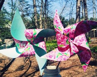 8 Custom Lily Pulitzer Inspired Pinwheels