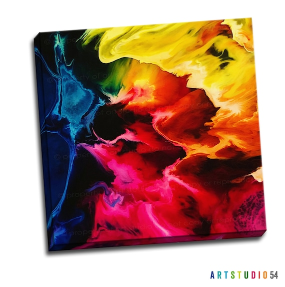 "Liquid Art Painting on Canvas - 6""x6"" to 36""x36"" - 1.25 Thick Bar Gallery Wrapped Canvas - artstudio54"