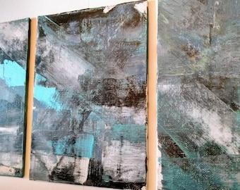 Abstract Paintings Canvas Set of 3 Original Art Metallic Blue Black on Canvas Board 5'' x 7'' Small Art Home Decor Art Set of Three Wall Art