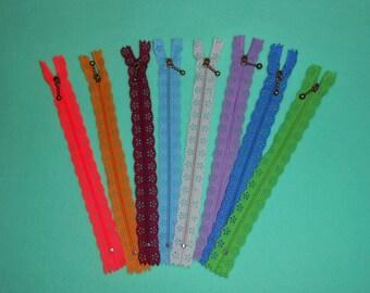 Lace zipper, set of 8 - mixed colors - to clutch bag, clutch.