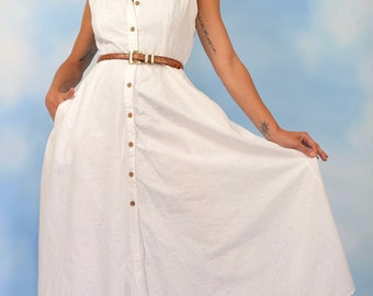 Vintage 90s does 50s White Cotton Eyelet Sleeveless New Look Shirt Waist Dress (size medium, large)
