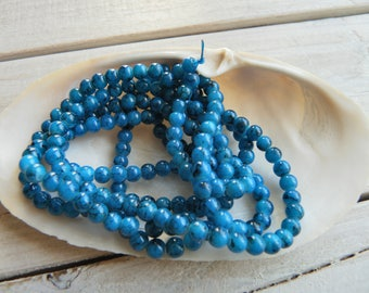 50 4 mm blue marbled resin beads