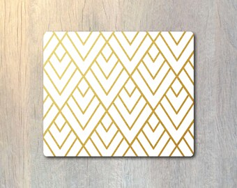 Real Gold Foil Geometric Pattern Mouse Pad - Custom Personalized Color - Computer or Office Work Station Decor