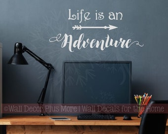 Vinyl Lettering Arrow Art with Inspiring Wall Decal Quote Life Is An Adventure