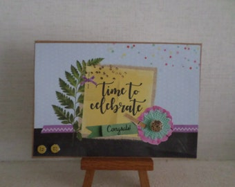 """time to celebrate"" card with foliage, flowers, fake 3D yellow buttons"