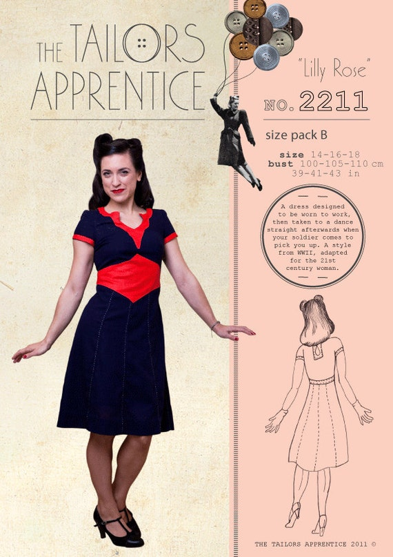 1940s Sewing Patterns – Dresses, Overalls, Lingerie etc 1940s war time WWII dress frock swing style reproduction dress patternPack B 14-16-18 Lilly Rose Style 2211 1940s war time WWII dress frock swing style reproduction dress pattern  AT vintagedancer.com