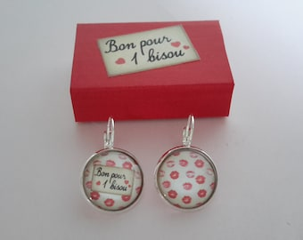 Mothers' Day earrings Kiss and gift box