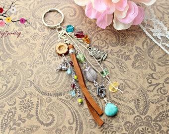 Hummin' a hoot~ boho keychain, boho purse charm, beaded keyring, boho keyring, beaded purse charm, silver keychain, beaded keychain