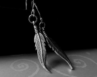 Feathers sterling silver earrings. Tribal rustic jewelry. Bird silver wing. Nature bohemian earth jewelry. Lunamora