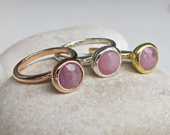 Rose Gold Raw Promise Ring- Pink Sapphire Raw Engagement Ring- Stackable Pink Simple Round Ring- Rough Stone Raw Minimalist Jewelry