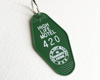 Marijuana keychain,420,hotel keychain,weed,vintage,retro,hotel key chain,stoner gift,hotel, motel,key tag,key ring, cannabis,HIGH LIFE MOTEL