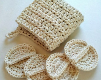 Crochet spa set - wash cloth and scrubby set, oil cleansing set