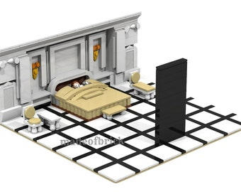 CUSTOM LEGO BUILDING.  2001: A Space Odyssey. Scene from the famous movie by Stanley Kubrick. Science fiction film.