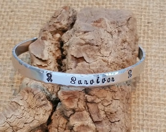 Cuff bracelet - Cancer Survivor Bracelet - Cancer Awareness Jewelry - Hand Stamped Cuff Bracelet